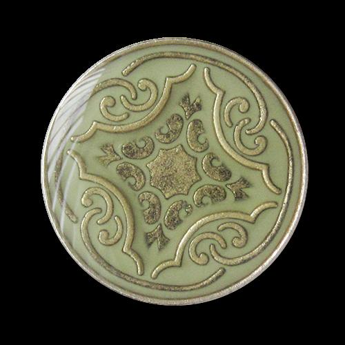 www.knopfparadies.de - 3277ol - Olivfarbene Metallknöpfe mit nostalgischem Muster