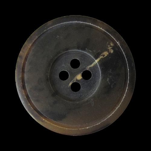 www.Knopfparadies.de - 2708br - Edle braun melierte Kunststoffknöpfe in Büffelhorn Optik