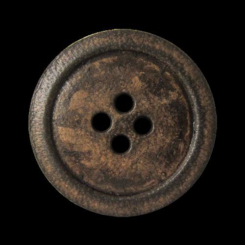 www.knopfparadies,de - 2513br - Antikbraune Lederknöpfe mit vier Löchern