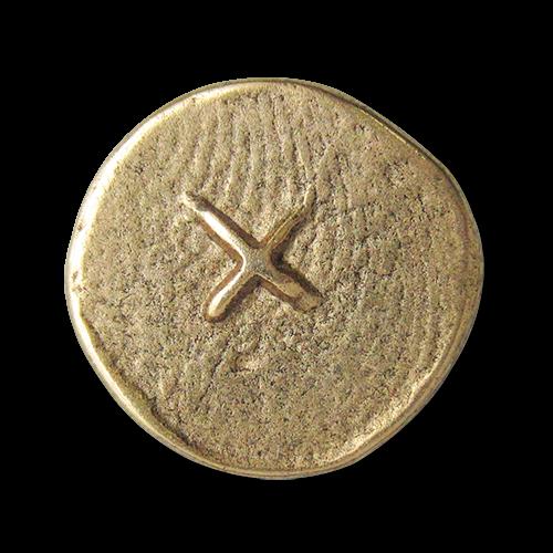www.knopfparadies.de - 2528ag - Altgoldfarbene Metallknöpfe mit Kreuz