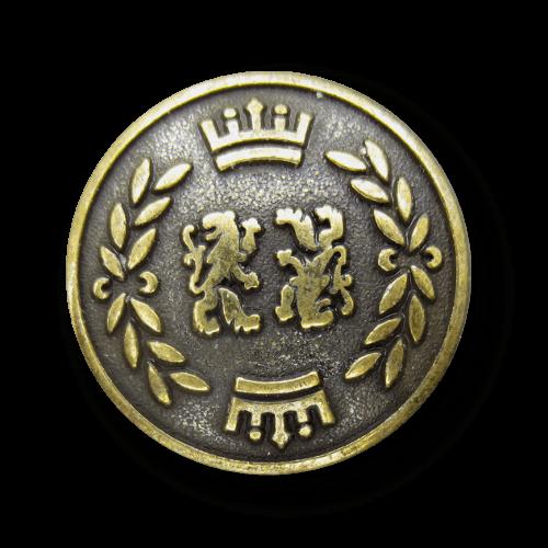 Altmessingfb. Blazerknopf mit Löwe, Krone und Lorbeer