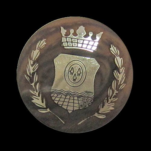 www.Knopfparadies.de - 3528br - Wappenknöpfe aus Kunststoff wie Hornknöpfe in Braun, Beige & Gold