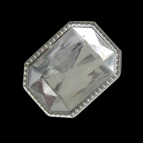 www.knopfparadies.de - 5453tr - Silber glänzende Glitzerknöpfe mit Stein