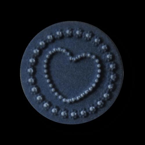 Bezaubernder blau weißer Kunststoff Knopf mit Herz