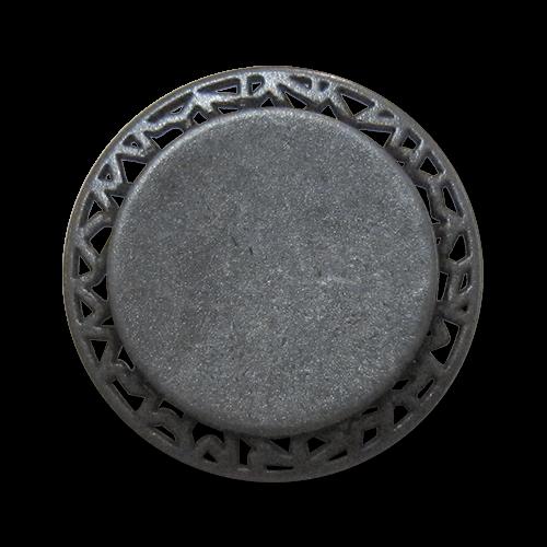 www.Knopfparadies.de - 0446ei - Eindrucksvolle Ösenknöpfe aus Metall mit Durchbruch in Eisen