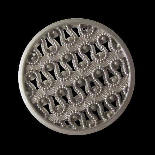 Bildschöner Metall Ösen Knopf mit filigranem Spitzen Muster in matt Silberfarben