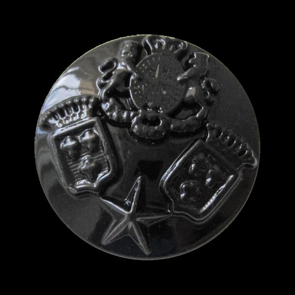 Schwarz glänzender Metall Knopf mit 3 Wappen & Stern
