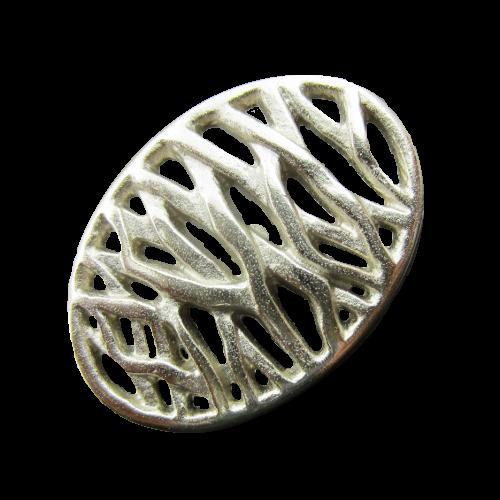 Silberfarbener Designerknopf mit Durchbruchmuster