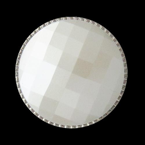 www.knopfparadies.de - 3616sp - weiß und silberfarbene Kunststoffknöpfe in Perlmuttoptik
