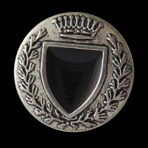 www.Knopfparadies.de - 4069si - Noble schwarz silberne Wappenknöpfe aus Metall