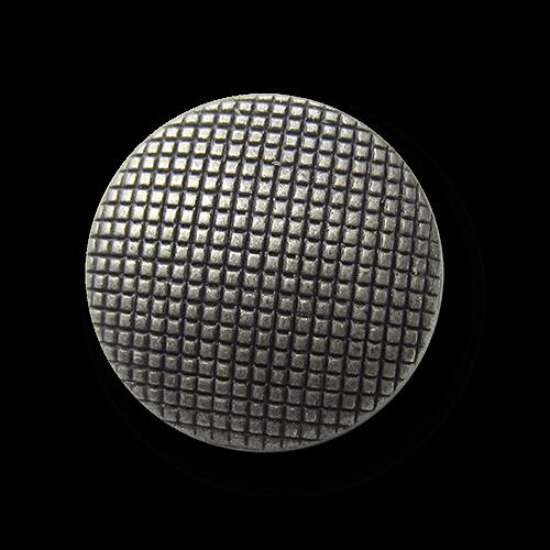 Altsilberfarbener Metall Knopf mit Raster Muster