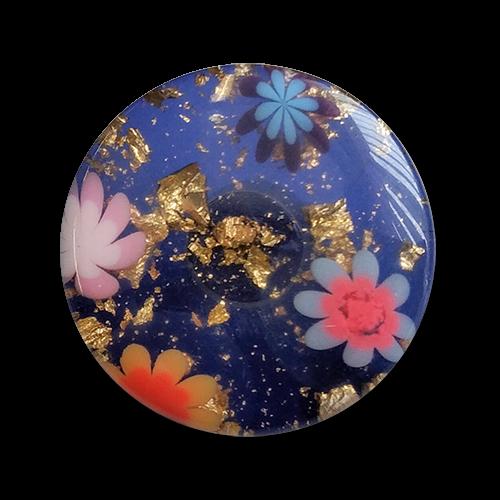 www.knopfparadies.de - 6016bg - Blaue Kunststoffknöpfe mit goldenem Glitter und Blüten