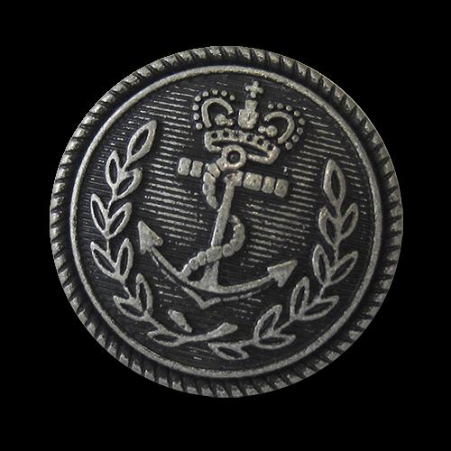 www.knopfparadies.de - 5751as - Maritime Metallknöpfe mit Anker und Krone