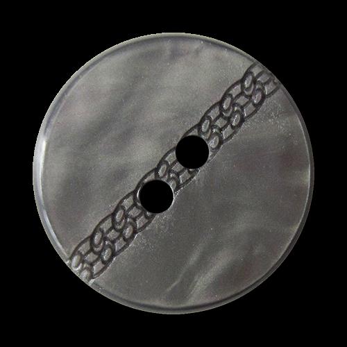 www.knopfparadies.de - 4151gr - Hübsche graue Kunststoffknöpfe in Perlmutt Optik mit Zierband