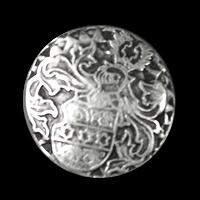 Selten schöner Wappenknopf mit Ritterhelm