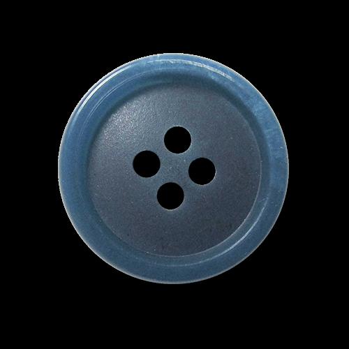 Blau melierter Hemden Knopf aus Kunststoff