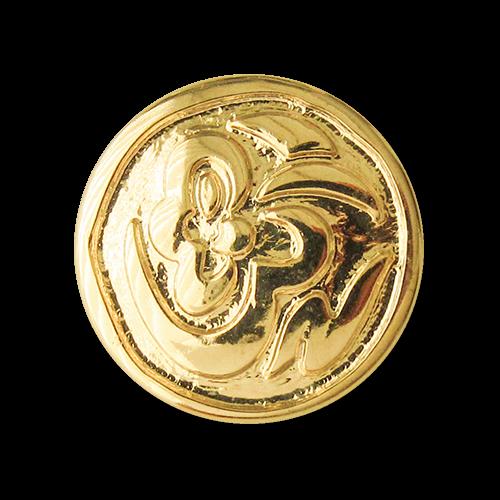 Kunststoffknopf mit Öse in Metallic Goldfarben und verspieltem Muster