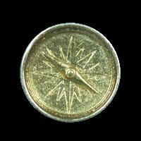 Schöner silberfarbener Knopf wie Kompass