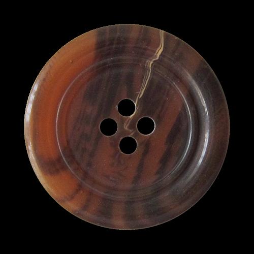 www.Knopfparadies.de - 4013db - Dunkelbraun melierte Vierloch Kunstoffknöpfe in Horn Optik