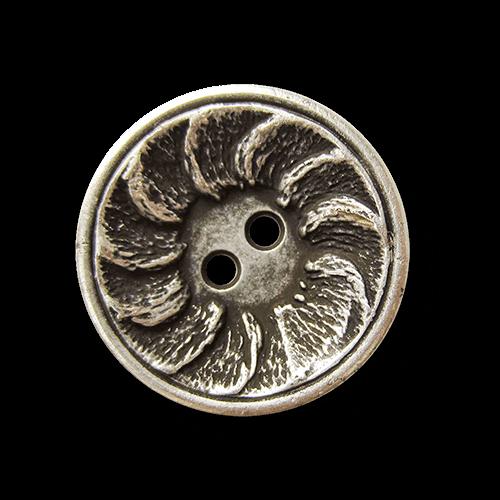 Altsilberfarb. Metall Knopf mit spiralförmigem Muster