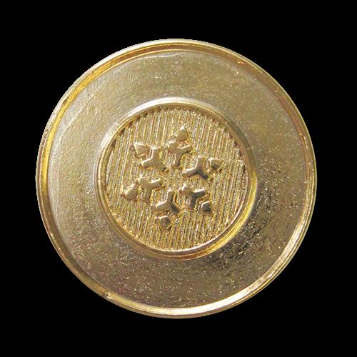 www.Knopfparadies.de - 3380gg - Günstigere goldene Ösenknöpfe aus Metall mit Stern / Schneeflocke
