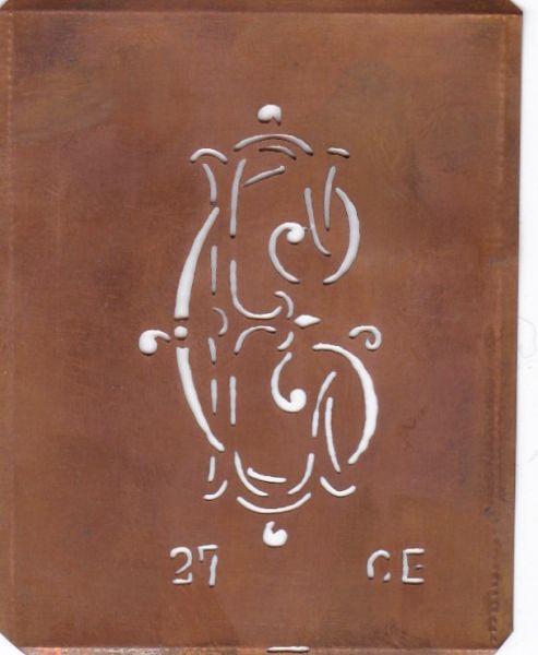 Schablone aus Kupferblech, Aussteuer-Schablone zum Sticken CE