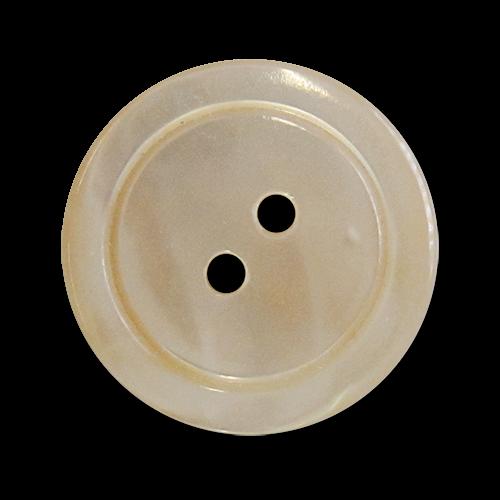www.knopfparadies.de - pm047be - Beige Perlmuttknöpfe mit schmalem Rand und zwei Löchern