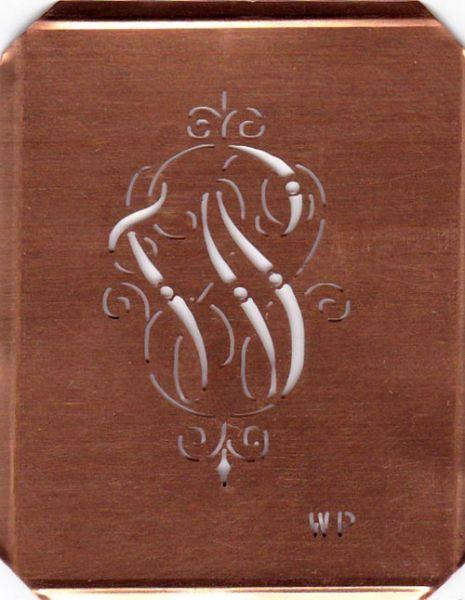 www.knopfparadies.de WP-sch-555 - Verschnörkelte, alte Kupferschablobe zum Sticken von Monogrammen WP