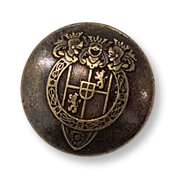 Wappenknopf, altmessing, Metall, Jugendstil