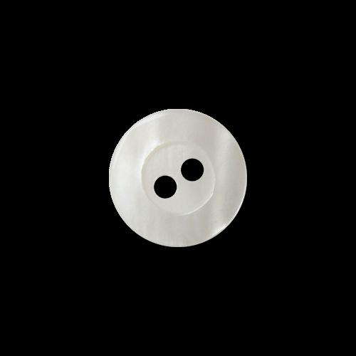 Kleine weiße Zweiloch Perlmuttknöpfe mit breitem Rand