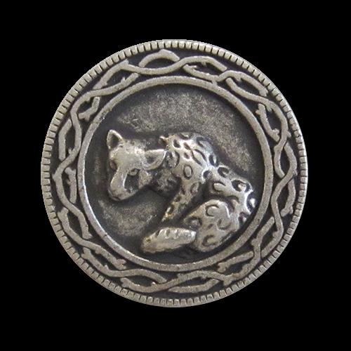 www.knopfparadies.de - 0564as - Altsilberfarbene Metallknöpfe mit Leopardenmotiv