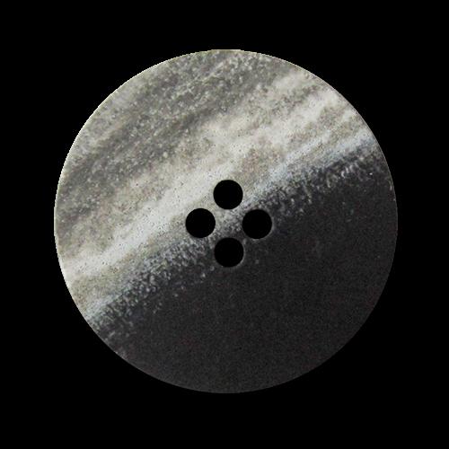 Schwarzer Vierloch Kunststoff Knopf mit seitlicher Melierung