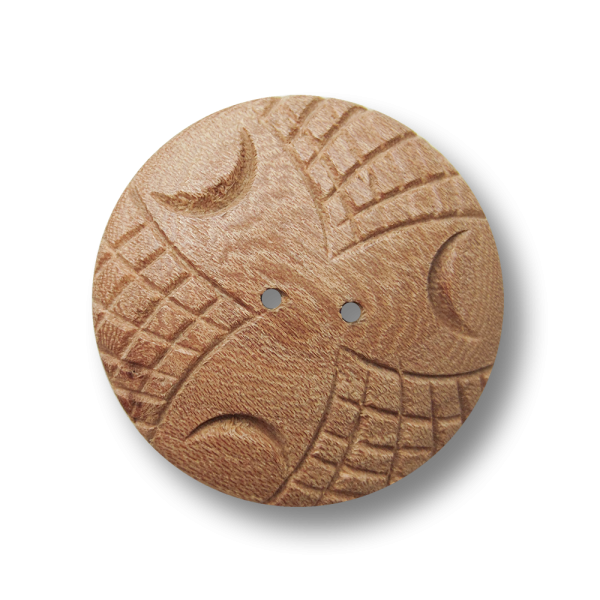 Sehr großer Holz Knopf mit geschnitztem Muster