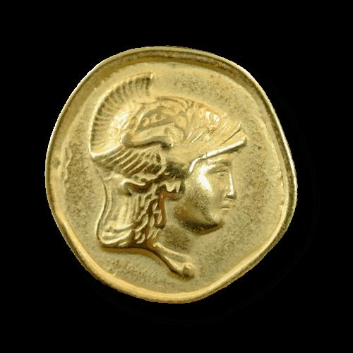 Goldfb. Münzknopf mit Hermes-Kopf