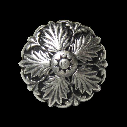 www.Knopfparadies.de - 5877as - Elegante silberne Metallknöpfe mit nostalgischem Motiv