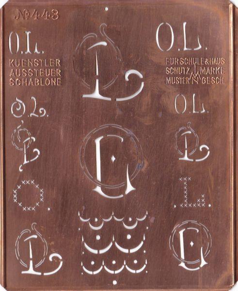 Stickschablone, Wäsche-Schablone Kupfer Monogramm OL
