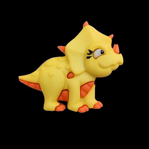 www.knopfparadies.de - 6175tr - Zuckersüße, bunte Kinderknöpfe: Dino / Triceratops