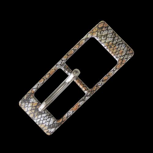 www.Knopfparadies.de - 3589sc - Aufregende glitzernde Metallgürtelschnalle mit Schlangenhautmuster