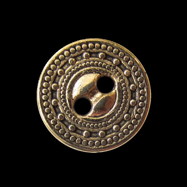 Kleiner gemusterter altgoldfb. Zweiloch Metall Knopf