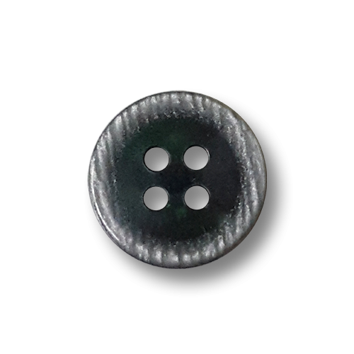 Kleiner blau grauer Vierloch Knopf aus Kunststoff in Perlmutt Optik / 50 Stück-Packung