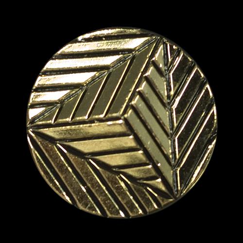 Origineller goldfarbener Kunststoff Knopf mit Pyramide