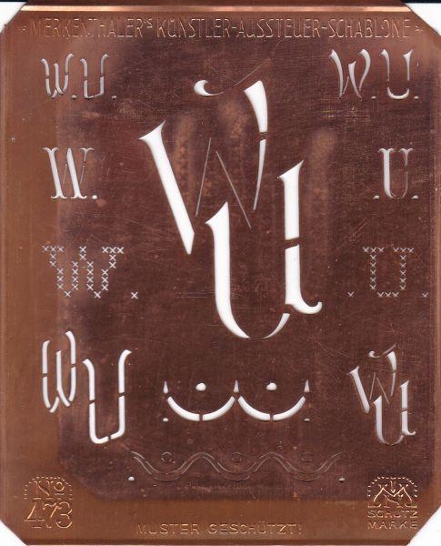 www.knopfparadies.de - Künstlerschablone, Kupfer Schablone, Art Deco, Monogramm WU