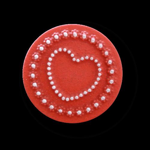 Bezaubernder rot weißer Kunststoff Knopf mit Herz