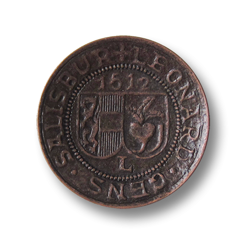 Besonders eindrucksvolle altkupferfarbene Metall Ösen Knöpfe mit Wappen