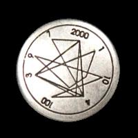 Altsilberfarbener Metallknopf mit Geometrie Muster