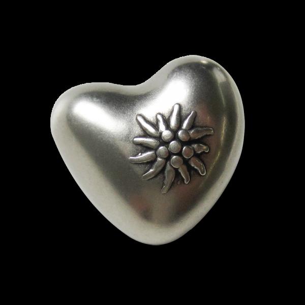 Süße Trachtenknöpfe in Herzform mit Edelweiß