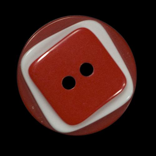 Hübscher rot-weißer Kunststoffknopf