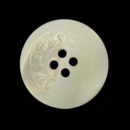 Edler kompakter Vierloch Perlmutt Knopf mit Zierband