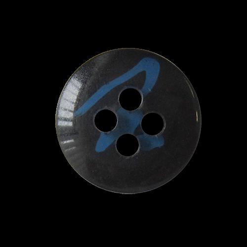 www.Knopfparadies.de - 1557bs - Freche schwarz blaue Knöpfe mit orginellem Muster