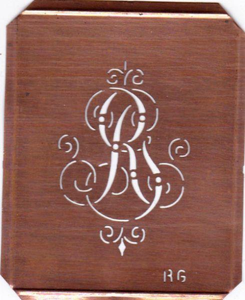 www.knopfparadies.de - RG-sch-555 - Verschnörkelte, alte Kupferschablobe zum Sticken von Monogrammen RG